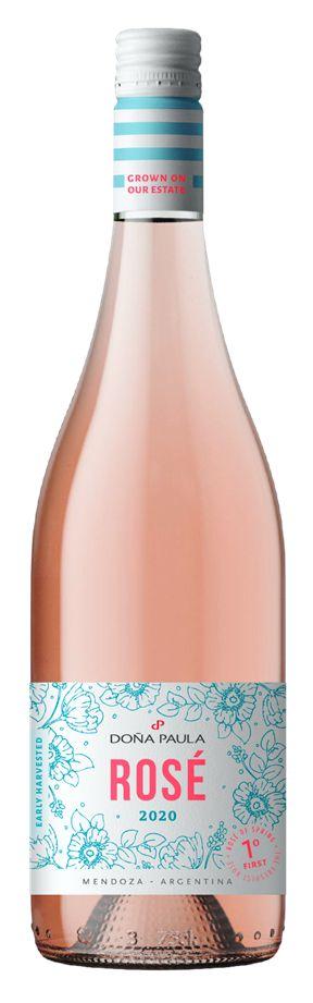 Botella de Doña Paula Rosé 2020 con fondo blanco