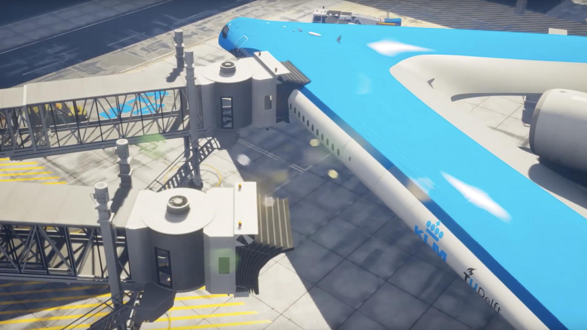 Prototipo Flying V en pista de aterrizaje