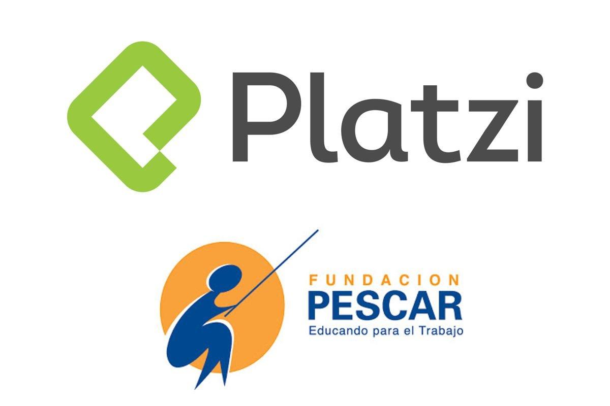Logos Platzy y Fundación Pescar