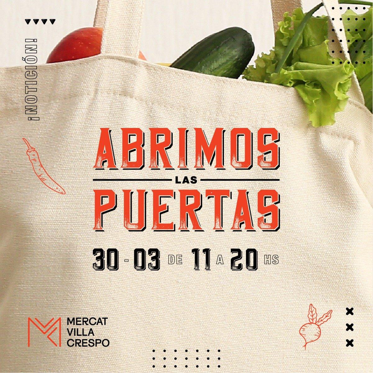 Apertura de Mercat Villa Crespo e flyer